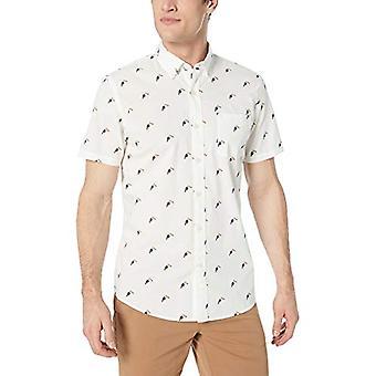 Goodthreads Men & apos; s Standard-Fit kortärmad tryckt Poplin Shirt, Vit Touca ...