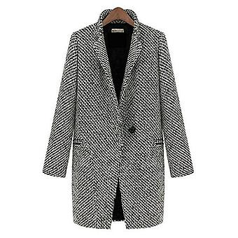 Womens Wool Look Long Winter Coat Outwear - Grijs