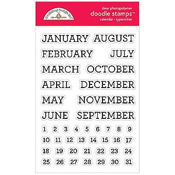 Doodlebug Clear Doodle Stamps - Calendar - Typewriter