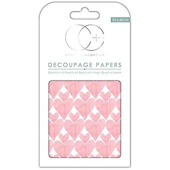 Craft Consortium Love Hearts Decoupage Papers