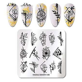Flower Marble Striped Line Nail Stamping Plates Image Stamp Templates Geometric