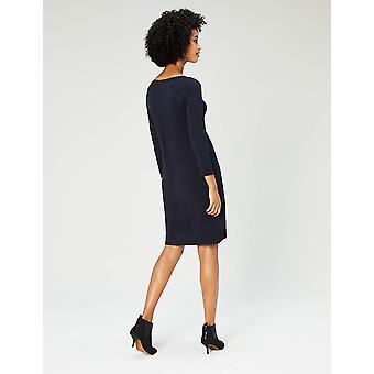 Tägliche Ritual Frauen's Jersey 3/4-Sleeve Bateau-Ausschnitt T-Shirt Kleid, Marine, X-Small