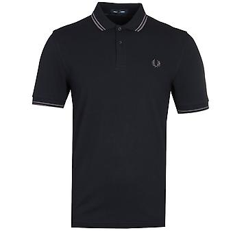 Fred Perry M3600 Twin Tipped Navy & Gunmetal Polo Shirt