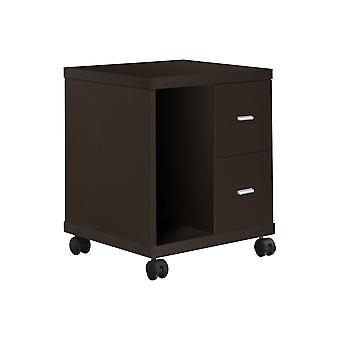 CAPPUCCINO HOLLOW-CORE 2 DRAWER COMPUTER STAND ON CASTORS