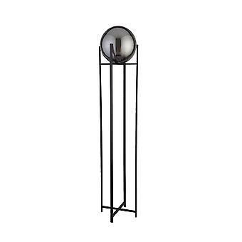 Søgelys AMSTERDAM - 1 lys Mat sort gulvlampe rund røgen glasskygge