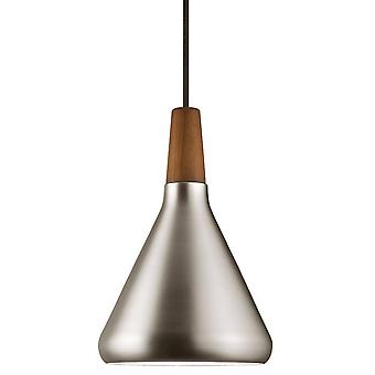 1 Light Dome Ceiling Pendant Brushed Steel, Oiled Walnut, E27