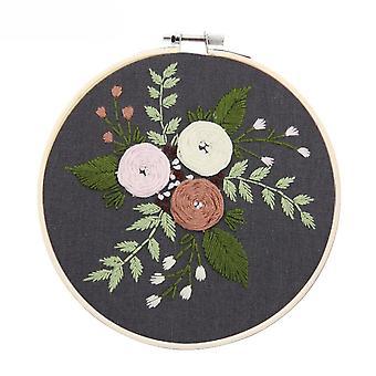 Europæisk stil hånd broderi kits med blomst mønster 15x15cm