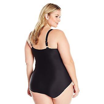 Coastal Blue Women's Plus Size One Piece Swimsuit, Tropical Print, 1X (16W-18W)