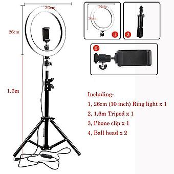 Led Studio Camera Ring Light Photography ze statywem, wtyczka USB do uchwytu na telefon