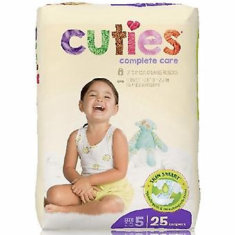 First Quality Unisex Baby Diaper Cuties Complete Care Tab Closure Size 5 Disposable Heavy Absorbency, 25 Bags
