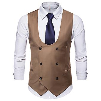 YANGFAN Mens U Neck Suit Vest Double Breasted Solid Color Waistcoat