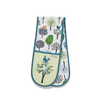Cook Smart Double Oven Glove Forest Birds 1846
