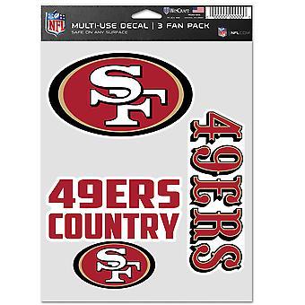 NFL Sticker Multi Set of 3 20x15cm - San Francisco 49ers