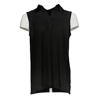 Cuddl Duds Women's Top Flexwear Polo Tank Top Black A373762