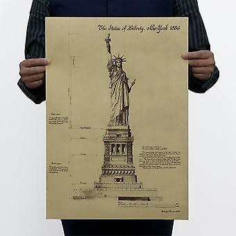 The Statue Of Liberty Usa Vintage Kraft Paper Classic Poster Home Wall Decor