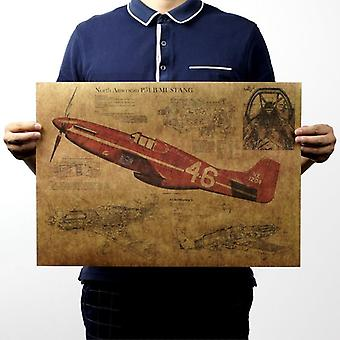 P15 Hävittäjä lentokone rakenne vintage kraft paperi juliste