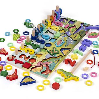 Montessori pedagogiska träleksaker Barn Upptagen Styrelsen Math Fiske Barn' s Trä Förskola Montessori Toy Räkna Geometri