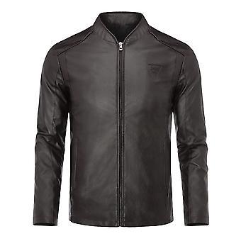 Allthemen Men's Vintage Stand Collar Jacket Casual Motorcycle Coat