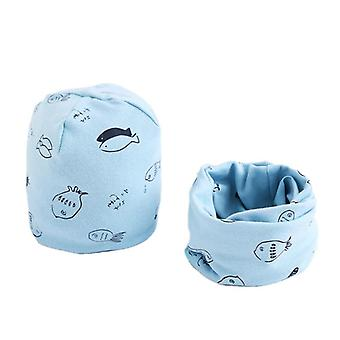Girls Hat Scarf Set, Print Neck Collar Cotton