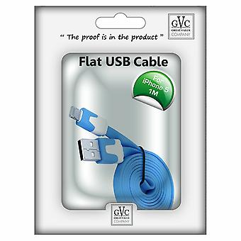 GVC 1m Strong Tangle Free Flat USB Cable for iPhone - Blue