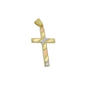 Pendant Cross Tricolor 9k Ouro