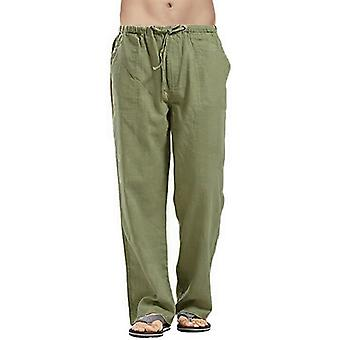 Cotton Linen Casual Mens Trousers Drawstring Loose Pantalones Hombre Straight