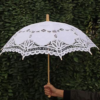 العروس مظلة القطن المظلات الدانتيل اليدوية التطريز الزفاف الشاطئ
