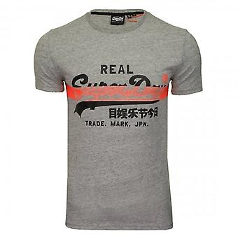 Superdry VL Cross Hatch Logo T-Shirt Grey 9SS