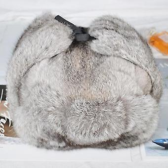 Winter Real Rabbit Fur Bomber Hat, Outdoor Super Warm 100% Natural Rabbit Fur