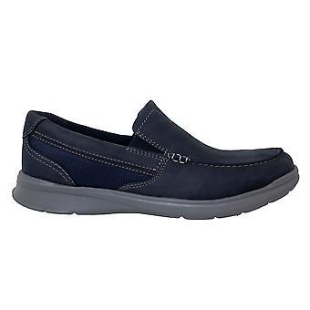 كلاركس كوتريل سهل البحرية الأزرق الجلود زلة منخفضة على أحذية المتسكع الرجال 261452987