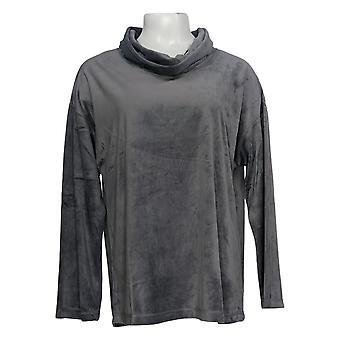 Carole Hochman Women's Silky Velour Cowl Neck Gray A381879 Pajama Top