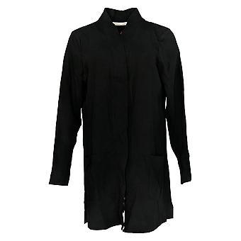 Isaac Mizrahi Live! Frauen's Pullover offen front stricken Strickjacke schwarz A374242
