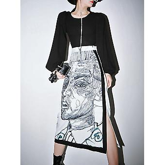 Falda de mujer, estampado dividido, faldas largas de cintura alta
