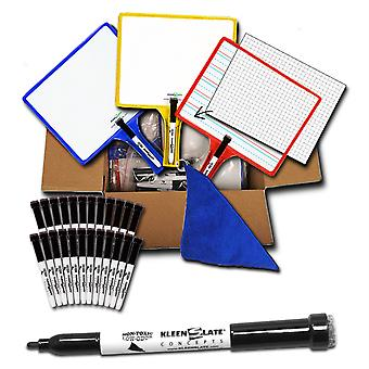 Rectangular Customizable Whiteboards With Clear Dry Erase Sleeves, Double-Sided, Pack Of 12