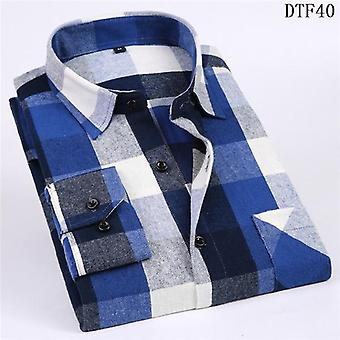 Men Flannel Plaid Cotton Spring-autumn Casual Long Sleeve Shirt