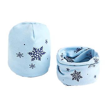 Plush Hat Scarf Set, Stars Collar Cotton