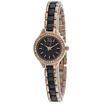 Anne Klein Women's Swarvoski Crystal Black Dial Watch - AK-1954RNST