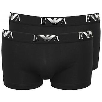 Emporio Armani 2-Pack Eagle Logo Boxer Trunks, Black