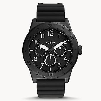 Fossil FS5748 Holt Multifunction Black Silicone Mens Watch