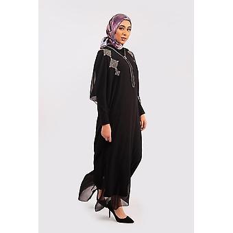 Kaftan iklil cropped sleeve v neck loose maxi gandoura dress in black