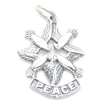Doves Of Peace Sterling Silver Charm Pendant .925 X 1 Caring Love Charms - 3155