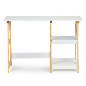 Stôl s knižnou skriňou biela - 110x40x76 cm