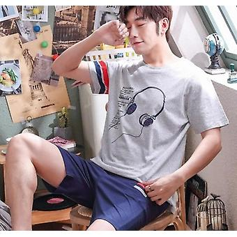 Summer New Knitted Cotton Short Sleeve Men Pajamas Sets