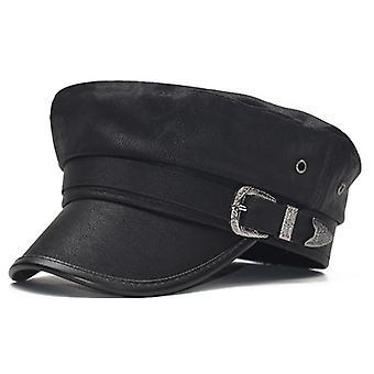 Women Leather Newsboy, Military Caps - Winter Flat Top Visor Caps Hats (preto