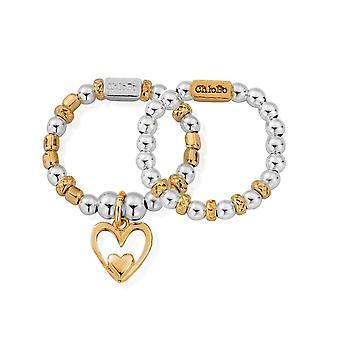 ChloBo Gold And Silver Inner Love Set Of 2 Rings
