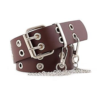 Double Hole Pin Buckle Waist Belt For Jeans Metal Waist Punk Chain Luxury Belts