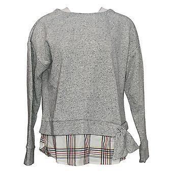 Izod Women's Tie Front 2-Fer Sweatshirt Plaid Gray