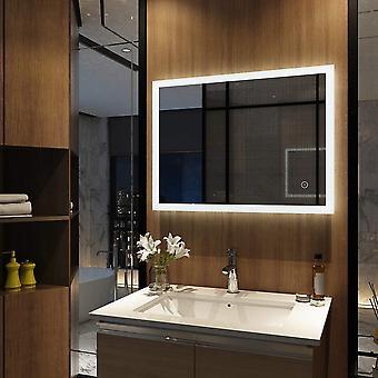 Meykoers Wandspiegel Badezimmerspiegel LED Badspiegel mit Beleuchtung 80x60cm mit Touch Schalter und