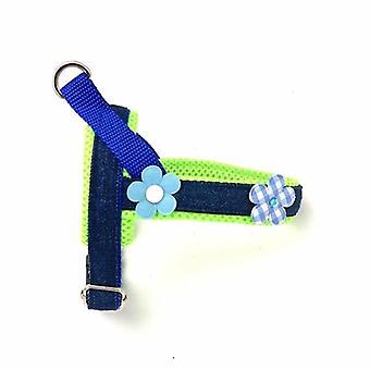 3d Neon & Blue Floral Denim Dog Harness