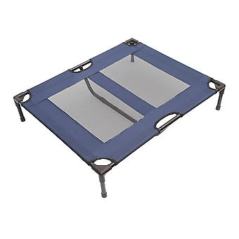 PawHut Raised Dog Bed Cat Elevated Lifted Puppy Pet Elevated Cot Portable Camping Basket – Blue (Large)